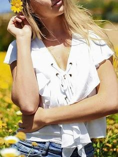 White V Neck Lace Up Front Ruffle Top