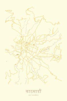 Kathmandu, Nepal Map Print