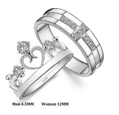 Wedding Rings for Men and Women 925 Sterling Silver Cross Crown Cubic Zirconia Ring Crystal Jewelry Couple Rings Uloveido Silver Engagement Rings, Band Engagement Ring, Engagement Jewelry, Wedding Ring Bands, Wedding Jewelry, Wedding Engagement, Ring Set, Ring Verlobung, Solitaire Ring