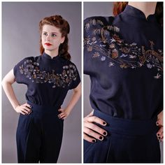 Vintage 1940s Blouse  Stunning Novelty Hand Painted by FabGabs, $184.00