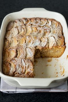 This moist and tender apple cake requires very few ingredients that are usually around the kitchen.