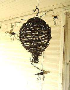 Barbed Wire Wasp Nest With Can Openers