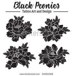 Vector Black Peonies Sticker Set