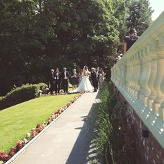 The gardens on a glorious sunny wedding day. Stone balustrade, ivy, lavender, just gorgeous!