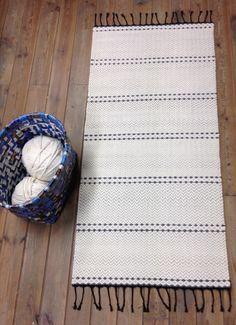 Items similar to Off white cotton rug, handmade on loom. Ivory and dark gray tricot weft, black warp. NB custom order only on Etsy Handmade Rugs, Handmade Items, Handmade Gifts, White Rug, Floor Rugs, Minimalist Design, Black Cotton, Loom, Off White