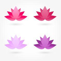 Set of four shapes of lotus flowers of pink and purple. Vector Logo Design, Lotus Flowers, Pilates Studio, Wedding Logos, Design Set, Purple, Pink, Clinic, Spa