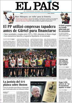 Los Titulares y Portadas de Noticias Destacadas Españolas del 22 de Abril de 2013 del Diario El País ¿Que le parecio esta Portada de este Diario Español?