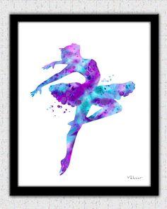 Purple pink aqua ballerina 1 ballerina print by FluidDiamondArt