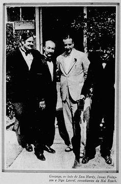Oliver Hardy, James Finlayson, Adhemar Gonzaga, and Stan Laurel on the set of SUGAR DADDIES (1927) - (CINEARTE, August 28, 1929, Rio de Janeiro, Brazil)