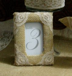 Burlap wedding table decorations, Burlap table number frame, rustic elegance country chic, french country, shabby chic weddings