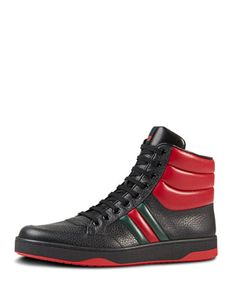 Contrast Padded Leather High-Top Sneaker, Black  by Gucci at Neiman Marcus.