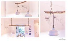 Drei Fotos mit der fertigen DIY Holzast-Lampe