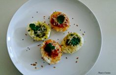 Deviled Eggs Reinvented. Egg pizza stuffed with pesto sauce, pizza sauce, salsa with melted cheese on top, garnished with cilantro and mighty seeds. So tasty and satisfying. Absolutely great as appetizer or snack. <3 Egg Pizza, Pesto Sauce, Melted Cheese, Deviled Eggs, Cilantro, Sushi, Salsa, Seeds, Appetizers