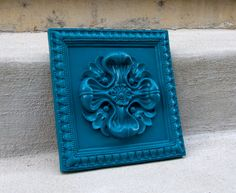 Ornate Wall Plaque Medallion  Turquoise  Modern Home by RetroPops, $20.00