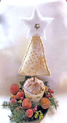 Quilted Christmas Tree Centerpiece Ornament by QuiltingFrenzy