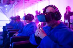 <p> A virtual reality experience from Ubisoft enabled participants six guests at a time to virtually walk around Paris's Notre...