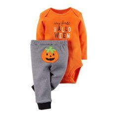 Carters Infant Baby Boy 1st Halloween Pumpkin Ghost Bat Sleeper Pajamas Hat Set