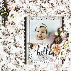 Sweet baby layout by Sharon Laakkonen. She used Rose Quartz papers and flowers to make this adorable page. #primaflowers #rosequartz #scrapbook