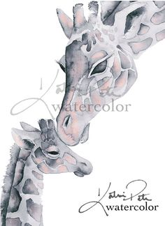 and baby watercolor Blush Pink and Gray Giraffe Mom and Baby Print of my original watercolor paintin. Blush Pink and Gray Giraffe Mom and Baby Print of my original watercolor painting by Katrina Pete. Perfect for a giraffe themed baby shower Giraffe Drawing, Giraffe Art, Baby Drawing, Baby Giraffes, Baby Giraffe Tattoo, Elephants, Animal Paintings, Animal Drawings, Watercolor Animals