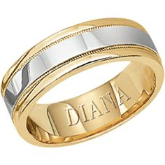6mm gold comfort fit wedding band with platinum center and milgrain detail from Diana