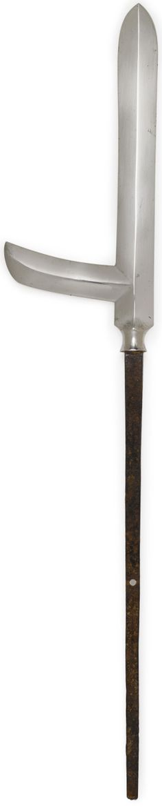 Katakama yari head Edo period (17th century), Indistinct forging pattern and tempered edge, ubu tang with one hole and indistinct file marks, 21 1/4in (54cm) long.