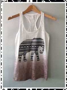 Burnout Ombre Razor Tank Aztec Elephant by CustomTsCorp on Etsy, $19.99