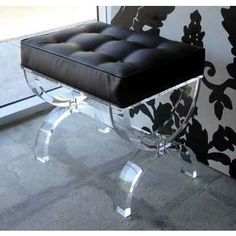 """ACRYLIC """"BOUTIQUE OTTOMAN"""" FROM AARON R THOMAS by fauna  Sexy little stool for your boudoir or sitting room."""