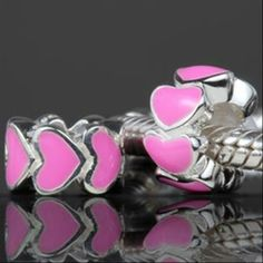 Pink Enamel Love Hearts Authentic 925 Sterling Silver Core Beads Love