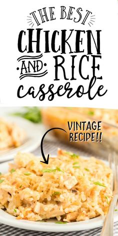 Chicken and Rice Casserole :: This classic chicken and rice casserole is a hearty family favorite. Creamy and delicious, tender chicken is mixed with cream soup, rice, and seasonings for an award-winning dinner. Chicken Rice Recipes, Chicken Rice Casserole, Oven Chicken, Easy Casserole Recipes, Casserole Dishes, Taco Casserole, Soup Recipes, Cookie Recipes, Cookies