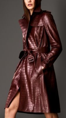 Alligator Wrap Trench Coat by Burberry Long Leather Coat, Leather Jacket, Burberry Trenchcoat, Mode Mantel, Shades Of Burgundy, Expensive Clothes, Raincoats For Women, Parka, Vintage Coat
