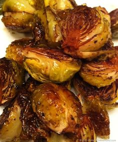'Balsamic Roasted Brussels Sprouts- my Mom makes these and they are so good!'