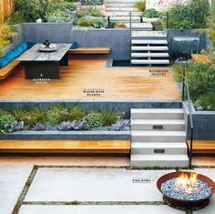 Stairs down and garden bed