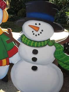 diy wooden christmas snowman family yard decor - Google Search