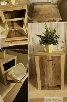 Garbage Can Holder Out Of Pallet Wood Pallet Boxes & Chests