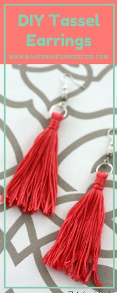 Find out how to make these DIY tassel earrings from Makes, Bakes and Decor. Really easy to make these earrings are such a cute piece of jewelry!
