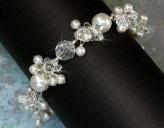 Bridal Bracelet Pearl, Pearl and Crystal Charm Bracelet, Wedding Jewelry, Pearl Wedding Bracelet, Bridal Bracelet. $97.00, via Etsy.