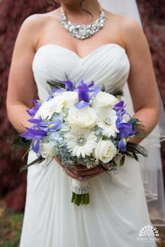 Bride with white Gerber daisy bouquet. Rhinestone embellished bouquet Michele and John Photo By Sherry Sutton Photography