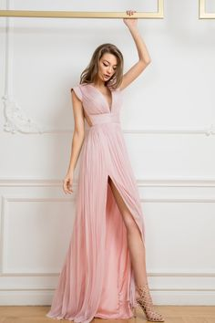 Cristallini - ska 761 cap sleeve illusion paneled shirred gown in pink Cap Sleeve Gown, Cap Sleeves, Pastel Prom Dress, Pink Dresses, Grad Dresses Long, Printed Gowns, Floral Shirt Dress, Satin Gown, Boutique Dresses