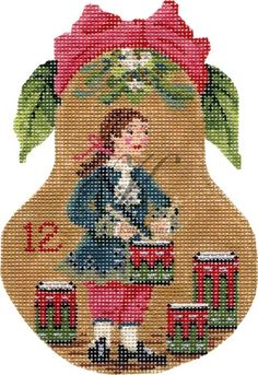"""There are 12 of the Days of Christmas"""" ornaments. Twelve Days Of Christmas, Christmas Minis, Christmas Cross, Christmas Themes, Vintage Christmas, Christmas Ornaments, Needlepoint Kits, Needlepoint Canvases, Xmas Cross Stitch"""