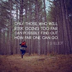 """Only those who will risk going too far can possibly find out how far one can go"" #TSEliot #quote"