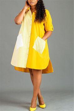 Red Fashion, Denim Fashion, Look Fashion, Fashion Outfits, Short African Dresses, African Fashion Dresses, Short Dresses, Striped Shirt Dress, Short Shirt Dress