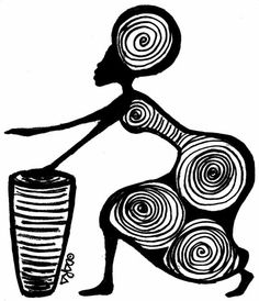 * * * The idea box of the I & # workshop * * *: My African village, Black Women Art, Black Art, Art Sketches, Art Drawings, Art Afro, African Art Paintings, Abstract Paintings, Afrique Art, Art Tribal