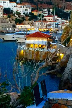 Hydra Island, Greece the Yachting Club restaurant Santorini, Beautiful Islands, Beautiful Places, Yachting Club, Earth City, Greek Beauty, Greece Islands, Paradise On Earth, In Ancient Times