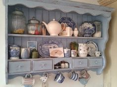 A Joyful Cottage: Living Large In Small Spaces – A Charming House in West Sussex A Joyful Cottage: Wohnen. Repurposed Furniture, Shabby Chic Furniture, Painted Furniture, Diy Furniture, Shabby Chic Kitchen Shelves, Kitchen Decor, Kitchen Hutch, Blue Shabby Chic, Shabby Chic Decor