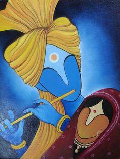 Modern art radha krishna on cavas