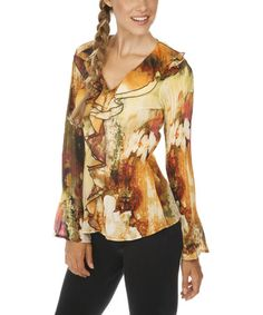 Loving this Orange & Beige Floral V-Neck Top on #zulily! #zulilyfinds