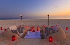 At the annual Sugar Sand Festival, sponsors can rent out a table made of entirely sand to dine at for one night.