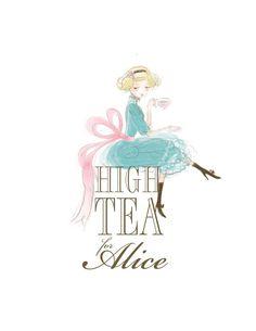 Logo Design, Illustration Custom Business Logo Design - - here is a tea time girl for you Alice :) Logos, Logo Branding, Branding Design, Bg Design, Tea Art, Business Logo Design, Cute Illustration, Logo Inspiration, Alice In Wonderland