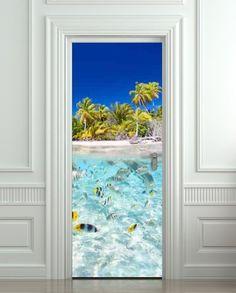 "Door LAMINATED STICKER Underwater, Ocean, Sea mural decole film self-adhesive poster 30x79""(77x200 cm)"
