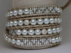 Wrap Bracelet  White Glass Pearls and White and by JPAdornments